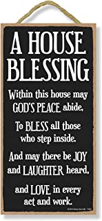 Honey Dew Gifts Inspirational Decor, A House Blessing 5 inch by 10 inch Hanging Sign, Wall Art, Decorative Wood Sign Home ...