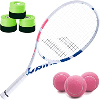 Babolat Pure Drive Junior White/Pink/Blue Junior Tennis Racquet Bundled with a Can of Pink Tennis Balls and Your Choice of Racket Overgrips (Perfect Starter Set for Kids Age 9-12)