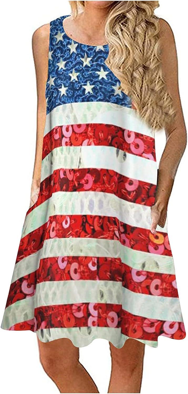 Paguaki Dress for Women Casual, Women's Sleeveless Short Mini Dress 4th of July Dress American Flag Summer Sundress