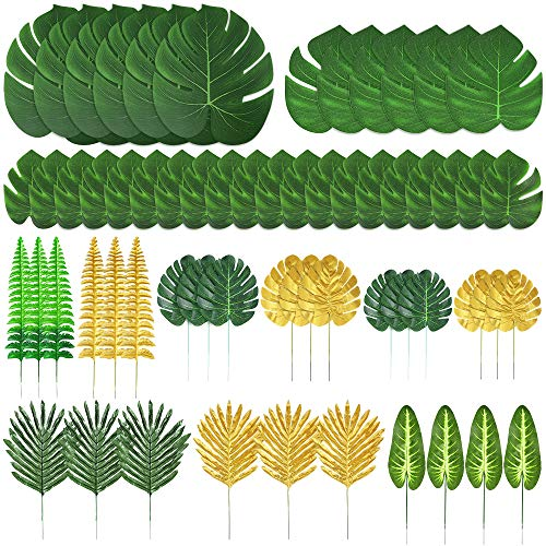 Auihiay 60 Pieces 12 Kinds Artificial Palm Leaves Golden Tropical Leaves With Stems Faux Jungle Leaves Decorations for Hawaiian Luau Party Decorations Beach Baby Shower Wedding Birthday Decorations