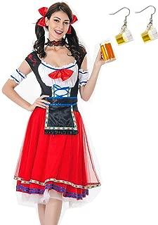 Kuroobaa ハロウィン コスプレ 大人用 メイド服 オクトーバーフェスト ビールイベント ビールガール ドイツ祭り 民族衣装 女性用 派手なドレス スカート 6点セット (レッド, M)