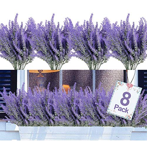 8PCS Artificial Flowers Outdoor UV Resistant Plants,8 Branches Faux Plastic Lavender Greenery Shrubs Plants Indoor Outside Hanging Planter Kitchen Home Wedding Office Garden Decor (Purple)