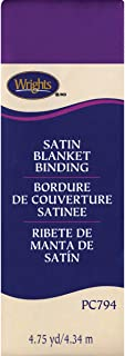 Wrights 117-794-064 Single Fold Satin Blanket Binding, 2 by 4-3/4-Yard, Purple