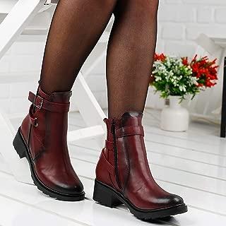 Ayakland 814 Günlük 4 Cm Topuk Bayan Cilt Bot Ayakkabı BORDO