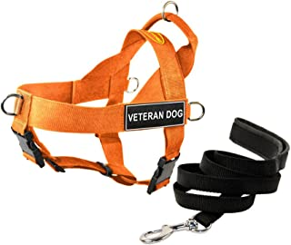 """Dean & Tyler DT Universal No Pull Dog Harness with""""Veteran Dog"""" Patches and Puppy Leash, Orange, Large"""