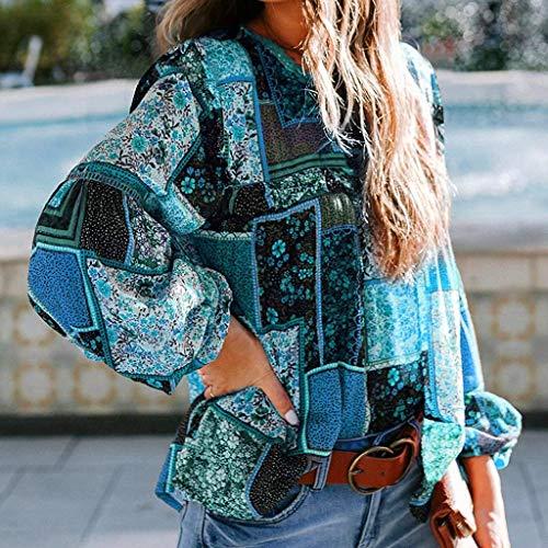 Mode Frauen Damen T-Shirt Druck Rundhals Chiffon Langarm Bluse Damen Sweatshirt...