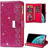 Hancda Brieftasche Hülle für Xiaomi Redmi Note 10 4G / Xiaomi Redmi Note 10S Handyhülle Handytasche Glitzer Leder Tasche Flip Case Geldbörse mit Reißverschluss Kartenfach Magnet Klapphülle,Rose Rot