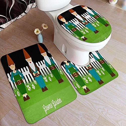 BOBO-Shop Gartenzwerg Badteppiche Anti-Rutsch-Pads Set Weiche Badteppiche Toilettenteppich 3-teilig Badematte/U-förmiger Konturteppich/Toilettendeckelbezug