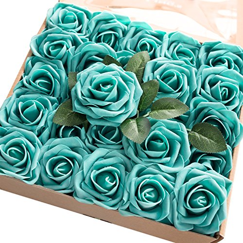Ling's moment Artificial Flowers Teal Green Roses 50pcs Real Looking Fake Roses w/Stem for DIY Wedding Bouquets Centerpieces Arrangements Party Baby Shower Home Decorations