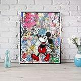VVSUN Decoración para el hogar Graffiti Canvas HD Prints Mickey Mouse Poster Pintura Personaje de Dibujos Animados Arte de la Pared Imagen Modular Sala de Estar Badroom, 45x60cm (sin Marco)