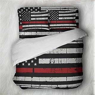 Earendel Fundas Nórdicas Bandera Americana Juego De Ropa De Cama Retro Colcha 2/3/4PCS Fundas De Edredón Nórdico/Almohada/Sábanas,para Cama 90/135/150/180 (Cama 80/90(140×210cm)-3PCS,4)
