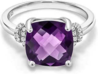 925 Sterling Silver Purple Amethyst Women's Ring Gemstone Birthstone Cushion Checkerboard (3.74 Cttw, Available in size 5, 6, 7, 8, 9)