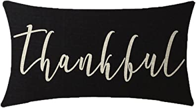 NIDITW Harvest Season Golden Autumn Thanksgiving Day Thankful Greetings Waist Lumbar Black Cotton Linen Cushion Cover Pillow Case Cover Sofa Chair Decorative Rectangular 12x20 Inches