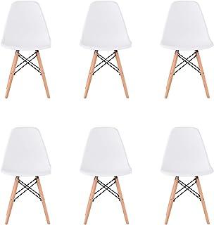 WV LeisureMaster Juego de 6 Estilo de Diseño Retro Comedor Silla Salón Salón Silla de Oficina Pierna de Madera (Blanco)