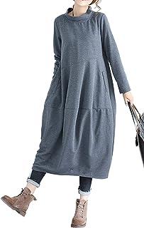 Vestito Oversize Donna Elegante Retro Abito Lungo Autunno Inverno Basic Jersey Vestiti Taglie Comode Maniche Lunghe con Ta...