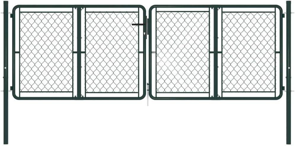 vidaXL Cancello per Giardino con Serratura e Chiavi Robusto Stabile Durevole Ingresso Porta Recinzione in Acciaio Zincato 100x100 cm Verde