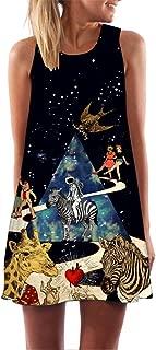 Women Vintage Dress,Sleeveless Round Neck 3D Print Summer Tank Top Mini Dresses