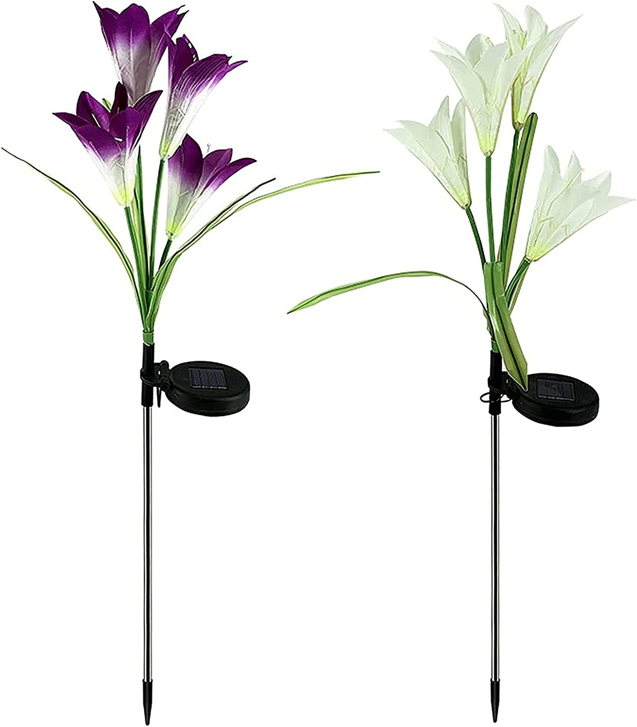 JUNSG Limited time trial price Solar Garden Light Outdoor Pcs Outdoo Max 70% OFF Lights Lily 2
