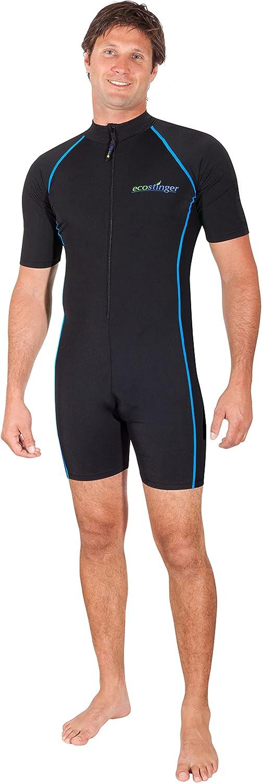 Men Sunsuit Sun Protective Swimwear UPF50+ Chlorine Resistant Black Blue Stitch