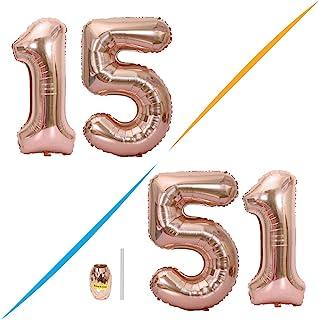 Huture 2 Globos Número 15 Figuras Globo Inflable de Helio Globo de Mylar de Papel Grande Globos Gigantes de Oro Rosa Número de Globo de 40 Pulgadas Para Fiesta de Cumpleaños Decoración Prom XXL 100cm
