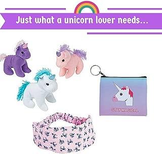 Unicorn Gift for Little Girls (3 Unicorn Plush Toys, Unicorn Printed Headband, Unicorn Purse)