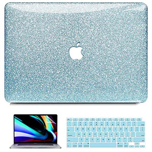 MacBook Air 13 inch Case 2020 2019 2018 Release A2179 A1932 with Retina Display, iPAPA Glitter Sparkly Glossy PC Hard Case + Keyboard Cover + Screen Protector, Apple MacBook Air 2020 Case
