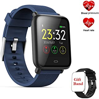 TEYO Fitness Tracker Smart Watch, Activity Tracker with Heart Rate Monitor,Color Screen Fitness Watch with Sleep Monitor Blood Pressure Monitor Step Counter, Pedometer Watch,IP67 Waterproof (Q9-Blue)
