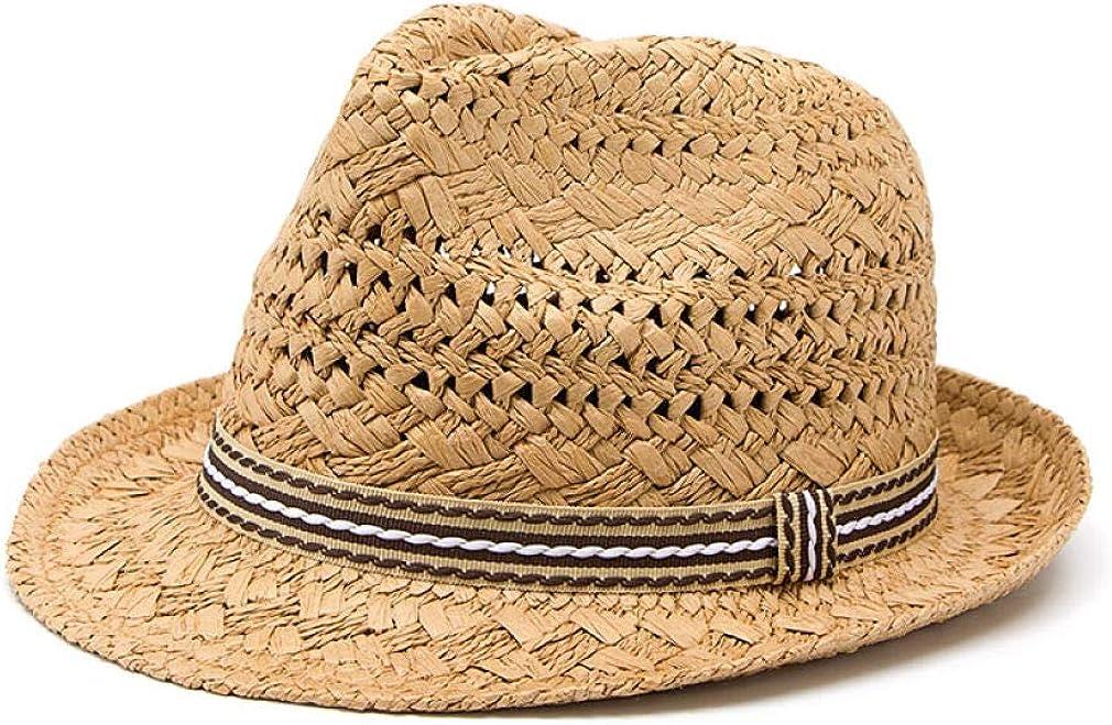 Unisex Summer Straw Hat Trilby Sun Hats for Women Men Panama Fedora Caps Outdoor Beach Hats