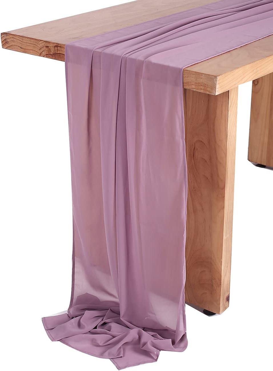 SHERWAY 27 x 168 Inch Deep Austin Mall E Mauve Wedding Table Chiffon Mail order Runner