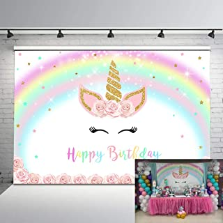 Mehofoto Magical Unicorn Backdrop Gold Unicorn Pastel Rainbow Photo Background 7x5ft Pink Floral Smiling Unicorn Face Photography Backdrops for Children's Birthday Party Studio Props