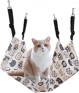 猫 ハンモック 猫 ケージ キャットハンモック ネコハンモック ヒモ調整可能 ベッドハンモック 両面ズック 洗える 夏秋用 昼寝 猫ベッド 耐荷重10kg 通気性抜群 大きい 58×48cm 取り付け簡単 棉麻