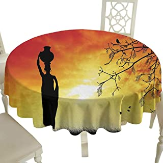 Plaid Round Tablecloth 50 Inch African,Silhouette of a Local Lady with Pot on The Head at Sunset Safari Illustration,Black Orange Great for,Wedding & More