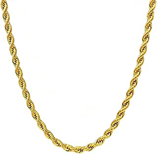 3MM Twist Rope Chain Necklace, 18K Gold Plated Stainless Steel Chain Necklace Links for Men Women, Fashion Jewelry, Wear Alone or with Pendant, 18-30 Inch