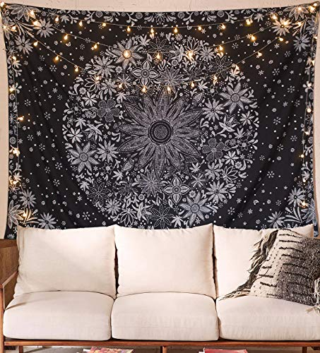 Neasow Bohemian Tapestry Wall Hanging,Black and White Floral Tapestry with Dotted Daisy Medallion Print Bedroom Boho Hippie Home Decor, 60×80 inches