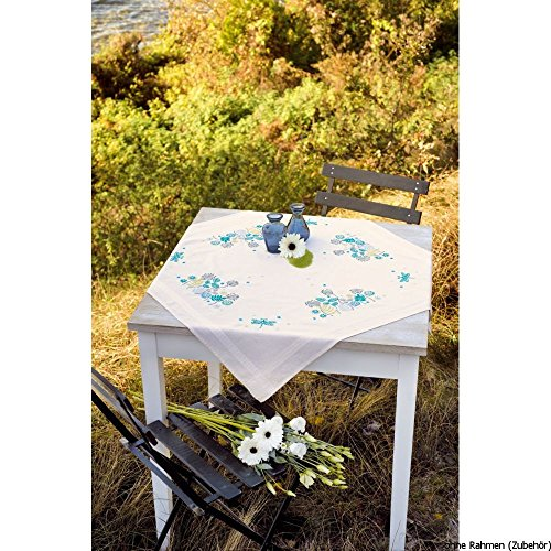 Vervaco tafelkleed grassen & libellen borduurpak/loper in voorgedrukt/voorgetekende platsteken, katoen, meerkleurig, 80 x 80 x 0,3 cm