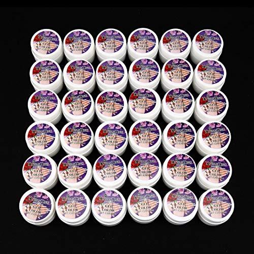 BIYI 36 Mix Couleurs Pots Pure UV Gel Builder Pour Conseils Nail Art Polonais Manucure DIY Femmes Nail Beauté Maquillage Gel Facile À Utiliser (Multicolore)