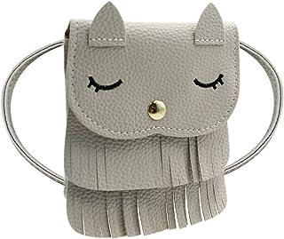 Naovio Cat Tassel Shoulder Bag Small Coin Purse Crossbody Satchel for Kids Girls