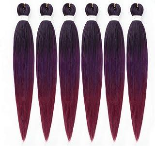 6Packs/Lot 26Inch EZ Braids Professional Pre Streched Braiding Hair Water Setting مصنوعی فیبر مصنوعی Hair Hair Hair Colors Ombre Crochet Braids Extension مو (مشکی/بنفش/قرمز