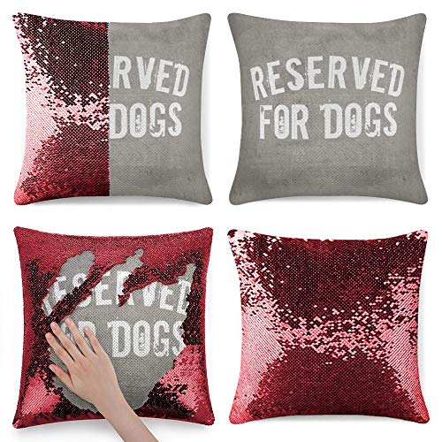 Tamengi Sequin Pillow Cover, Throw Pillow Shabby Chic Text Reserved for Dogs, Zipper Pillowslip Pillowcase, Decorations for Sofas, Armchairs, Beds, Floors, Cars