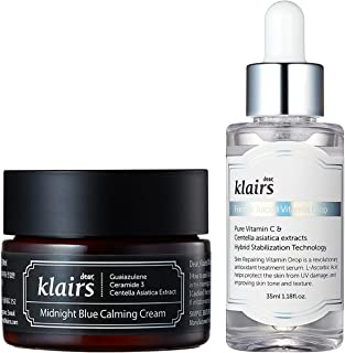 KLAIRS Calm Night Kit, Midnight Calming Blue Cream + Freshly Juiced Vitamin Drop, Acne care, Night care program