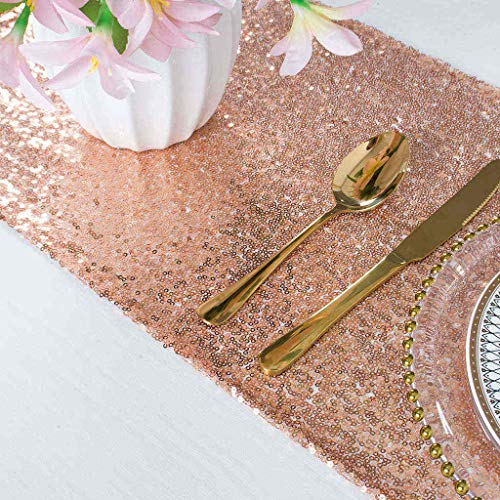 ShinyBeauty Sequin Table Runner Rose Gold 12x72 Inches Round Table Runner Dining Table Runner Linen Table Runner Wedding Table Runners Rose Gold Party Table Runner