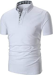 Short Sleeve Polo Shirt Causal Slim Fit Glof Polo Shirts with Plaid Collar