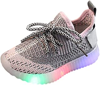 Sceoyche Kids LED Light Shoes, Children's Luminous Outdoor Running Shoes Mesh Breathable Lightweight Walking Shoes Sneakers Sport Shoes Casual Indoor Shoes for Boys and Girls