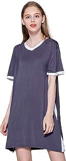 Camisón Algodón Mujer Verano de Mangas Cortas Camisón Modal Vestido Casual Diario Dress Domicilio Ropa Simple de Dormir Pijama Suelto