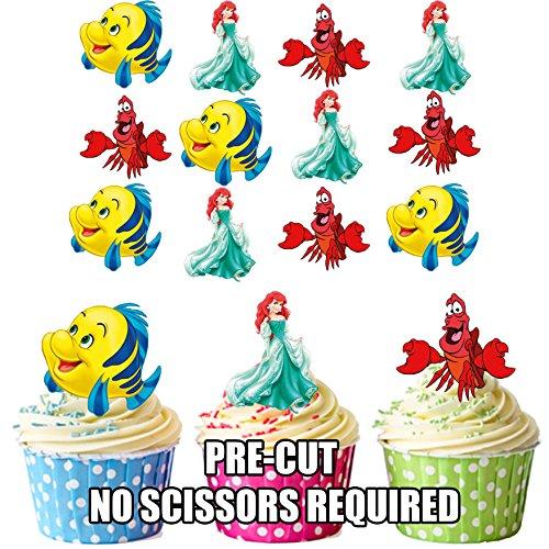 AK Giftshop PRE-CUT Prinses Ariel/De Kleine Zeemeermin - Eetbare Cupcake Toppers/Taart Decoraties (Pak van 12)