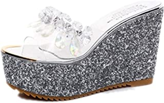 Summer Wedge Slippers Women Beach Indoor&Outdoor Shoes (Color : Silver, Size : 39)