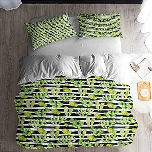 Conjunto de cama de cacto verde deserto, estampa de plantas tropicais, capa de edredom e 2 fronhas, conjunto de 3 peças/4 peças (+ lençol) macio, respirável, durável, cama de casal Queen King (03, solteiro-3 peças - 172 x 218 cm)