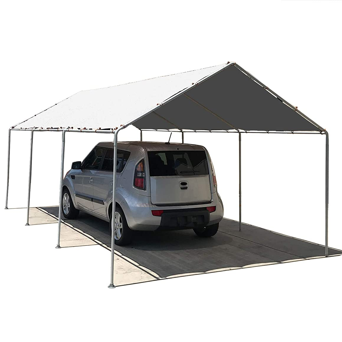 Alion Home Waterproof Poly Tarp Carport Canopy Replacement Garage Shelter Cover w Ball Bungees for Low & Medium Peak(Frame Not Included) (12' x 16', White)