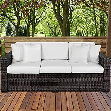 Best Choice Products 3-Seat Outdoor Wicker Sofa Couch Patio Furniture w/Steel Frame and Removable Cushions - Gray