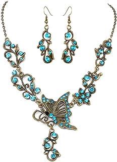 Gioielli farfalla amore fiore orecchini collana gioielli set, 2
